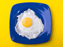 Fried egg. On  the dish Stock Photography