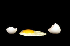 Fried egg. With shell on a black background Stock Photos