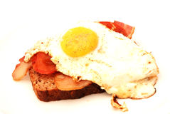 Fried egg. Light lunch of a brown slice of bread topped with fried egg, bacon and tomatoes on a white plate. Image isolated on white studio background Stock Images