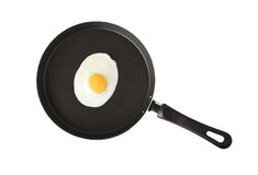 A fried egg. In a frying pan Royalty Free Stock Photos