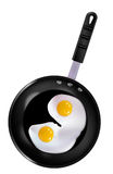 Sunny side up eggs in frying pan. An illustration of two sunny side up eggs frying in a black pan on a white background Stock Image