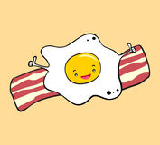 Fried Egg And Bacon Breakfast Illustration Stock