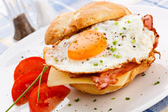 Fried egg with bacon and cheese Stock Photos