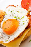 Fried egg with bacon and cheese Stock Photography