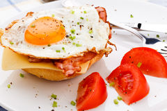 Fried egg with bacon and cheese Royalty Free Stock Photos