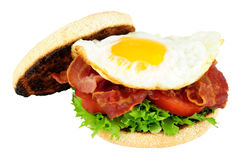 Fried Egg And Bacon English Muffin Sandwich Stock Photos