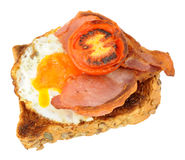 Fried Egg And Bacon With Grilled Tomato On Toast Royalty Free Stock Photo