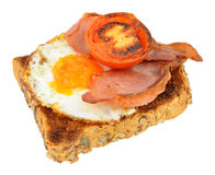 Fried Egg And Bacon With Grilled Tomato On Toast Royalty Free Stock Image