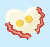 Fried egg and bacon in heart shape vector. EPS 10 Stock Photography