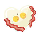Fried egg and bacon in heart shape vector. EPS 10 Stock Images