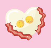 Fried egg and bacon in heart shape vector. EPS 10 Royalty Free Stock Photos