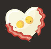 Fried egg and bacon in heart shape vector. EPS 10 Royalty Free Stock Photography