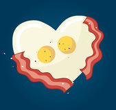 Fried egg and bacon in heart shape vector. EPS 10 Stock Image