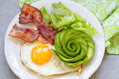 Fried Egg, bacon och avokadot steg för frukost Arkivbilder