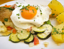 Fried egg with baked vegetables Royalty Free Stock Image