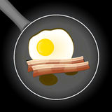 Fried egg and beacon in a frying pan with oil Stock Images
