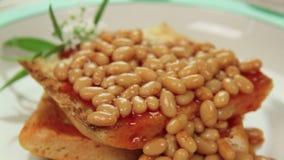 Fried Egg On Beans stock video
