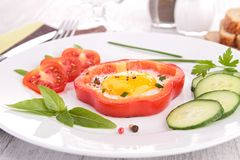 Fried egg on bell pepper Royalty Free Stock Images