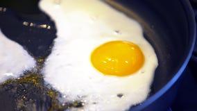 Fried egg. On a black frying pan closeup