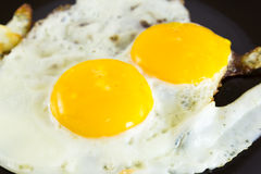 Fried egg. On black plate Stock Images