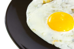 Fried egg. On black plate Stock Image