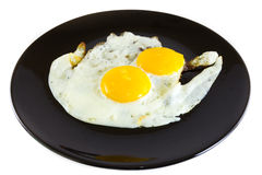Fried egg. On black plate Royalty Free Stock Image