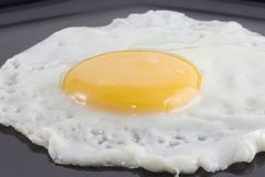 Fried egg in black plate Stock Photo