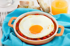 Fried egg with bread Royalty Free Stock Image