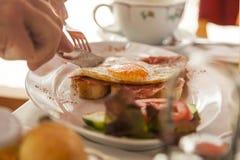 Fried egg on bread for breakfast Stock Image