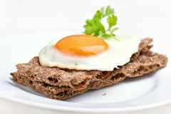 Fried egg on bread Royalty Free Stock Images