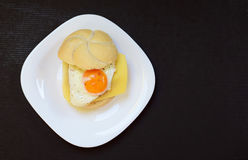 Fried egg with bread Royalty Free Stock Photography