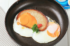 Fried egg and bread Royalty Free Stock Photos