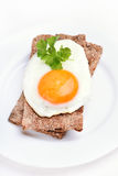 Fried egg on bread Royalty Free Stock Photography