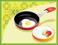 Fried egg on breakfast. Background for menu Royalty Free Stock Photography
