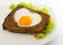 Fried egg in bred Stock Images