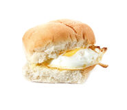 Fried Egg Butty. Fried Egg filled bread roll, bap or bun Stock Photos