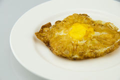 Fried egg cake. The white plate, put a frying pan put a good egg cake, delicious breakfast food Stock Photography