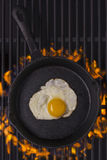 Fried egg in cast iron frying pan Royalty Free Stock Image