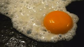 Fried egg. Close up of an egg frying stock video footage