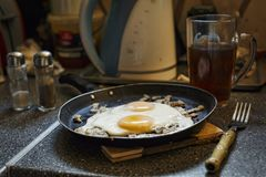 Fried egg. healthy breakfast concept. food, fresh, gourmet, healthy, kitchen, frying pan, stone table. stock photography