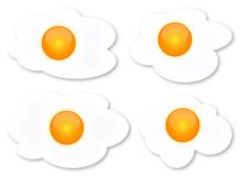 Fried egg. Collection of four shapes stock illustration