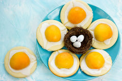 Fried egg cookies - funny idea for kid treats , Easter cookies Stock Image