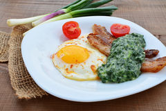 Fried egg with creamed spinach and bacon Stock Image
