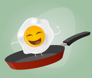 Fried egg is dancing in a pan Royalty Free Stock Images