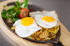 Fried Egg Dish At Kitchen-Teller royalty-vrije stock afbeelding