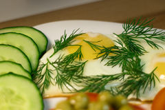 Fried egg. Example serving dill and slices cucumber on a white plate, close-up stock photography