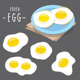 Fried egg food cook meal Protien healthy breakfast morning cartoon vector Royalty Free Stock Image