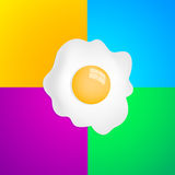 Fried Egg with four color background Stock Photography