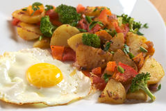 Fried Egg with Fried Vegetables Royalty Free Stock Photo