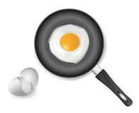 Fried egg on frying pan. Royalty Free Stock Photography